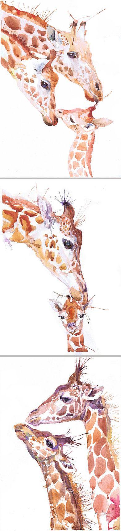 Giraffe art print animal art painting watercolor by ValrArt
