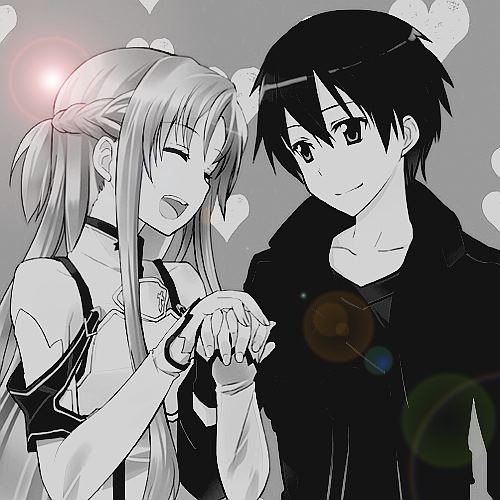 "The characters Asuna and Kirito, from the series ""Sword Art Online."" This is a B&W version of an earlier pin."