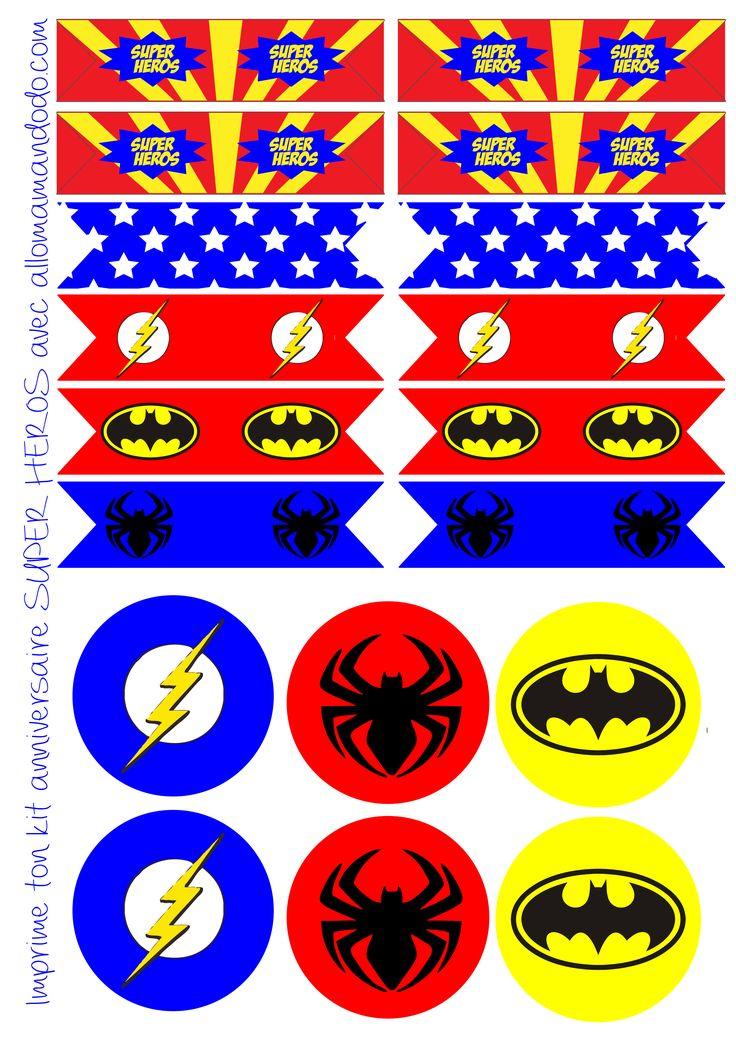 etiquettes anniversaire super héros