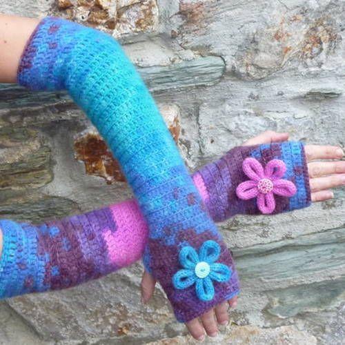 fe9268724e1f Mitaines femme réalisées au crochet et à la main, toutes chaudes, teintes  multicolores,