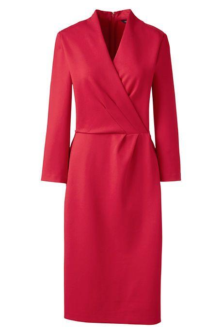 Women's 3/4 Sleeve Knit Surplice Dress