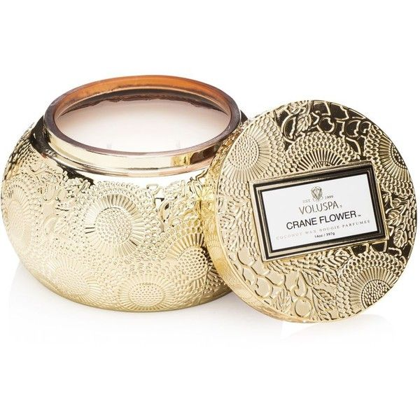 Voluspa Japonica Limited Crane Flower Candle with Lid found on Polyvore featuring home, home decor, candles & candleholders, candles, decor, gold, aromatic candles, gold home accessories, gold candles and grapefruit candle