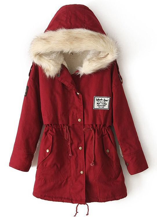 Red Fur Hooded Zipper Embellished Fleece Inside Military Coat 45.50