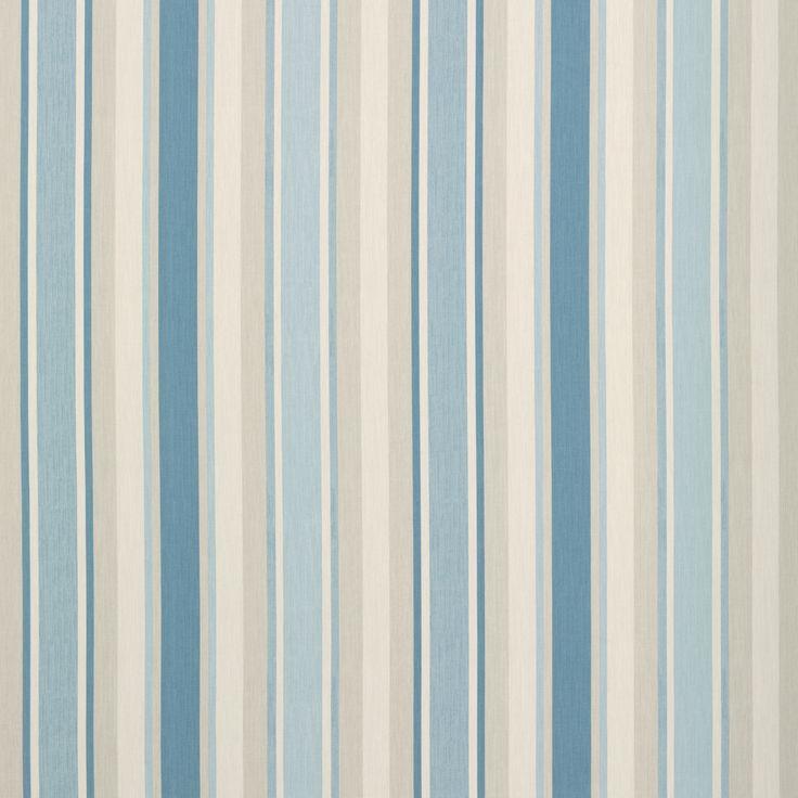 Awning Stripe Cotton/Linen Fabric Seaspray by Laura Ashley