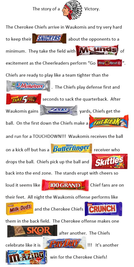 Candy Bar Story of a Football Game.  Great for a locker or hallway poster.  Support your Team with a Fun Candy Story.