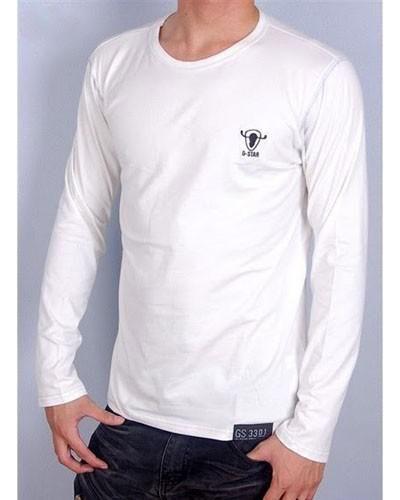 Camisetas G-Star Hombre HJ78Camisetas G Star Hombre Manga Larga Redondo Blanco y Alta Calidad