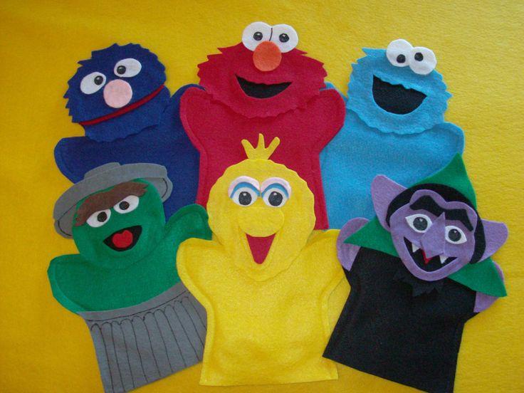 Sesame Street felt puppets -Elmo, Cookie, Grover, Big Bird, Oscar and the Count. $23.99, via Etsy.