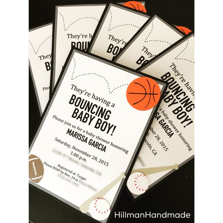 Sports Themed Baby Shower Invitations, Sports Baby Shower Invite, Baby Boy Invitation by HillmanHandmade on Etsy https://www.etsy.com/listing/254654673/sports-themed-baby-shower-invitations