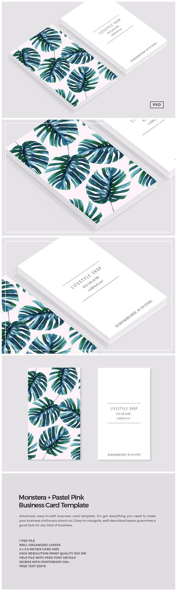 Monstera + Pastel Pink Business Card by The Design Label on @creativemarket