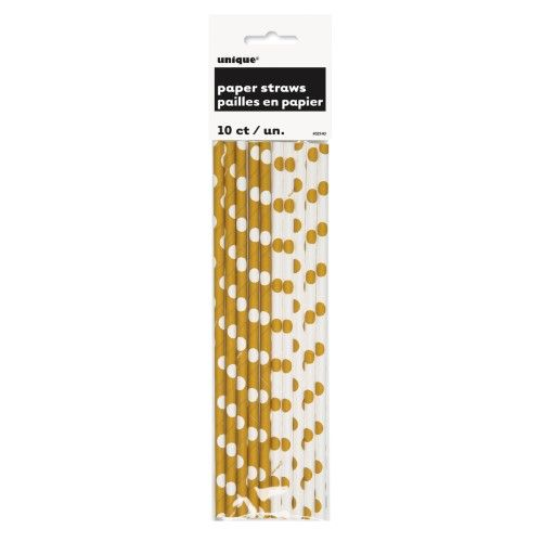 Dotted Paper Straws, Gold, 10 Ct