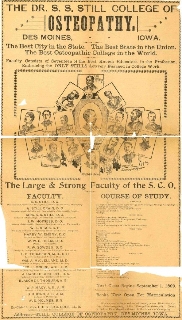 Old advertisement for the Dr. S. S. Still College of Osteopathy. Dr. Eitel, DO, from my h,s. town, offered her sponsorship if I were to go to here for my RN training.