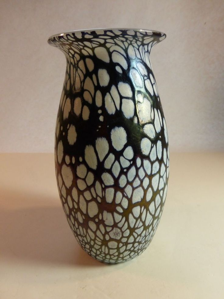 Malta Phoenician Dioric Iridescent/White Lined Maltese Glass Vase labeled/signed