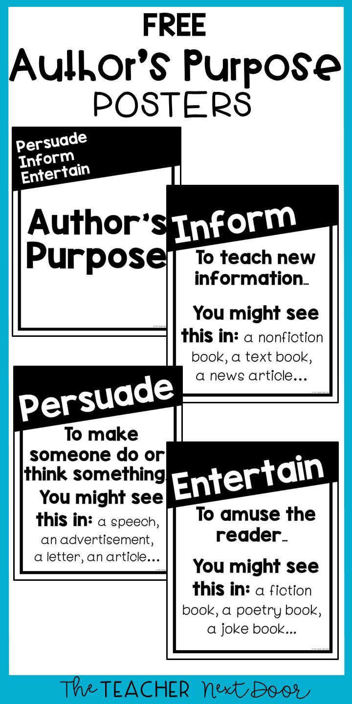 Author S Purpose Four Free Posters For 2nd 5th Grade In 2020 Authors Purpose Third Grade Reading Words Quotes