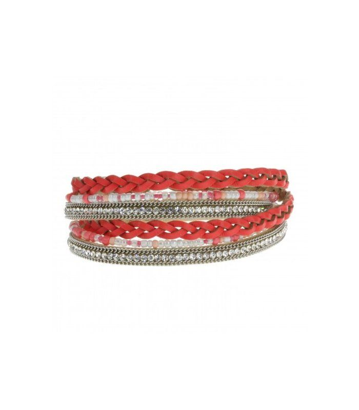 Rode leren wikkel armband met magneet sluiting en strass stenen|Mooie leren armband | EAN: 0000098590056 | Behave sieraden