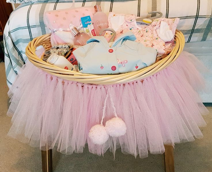 Baby Girl basket with Glitter tutu