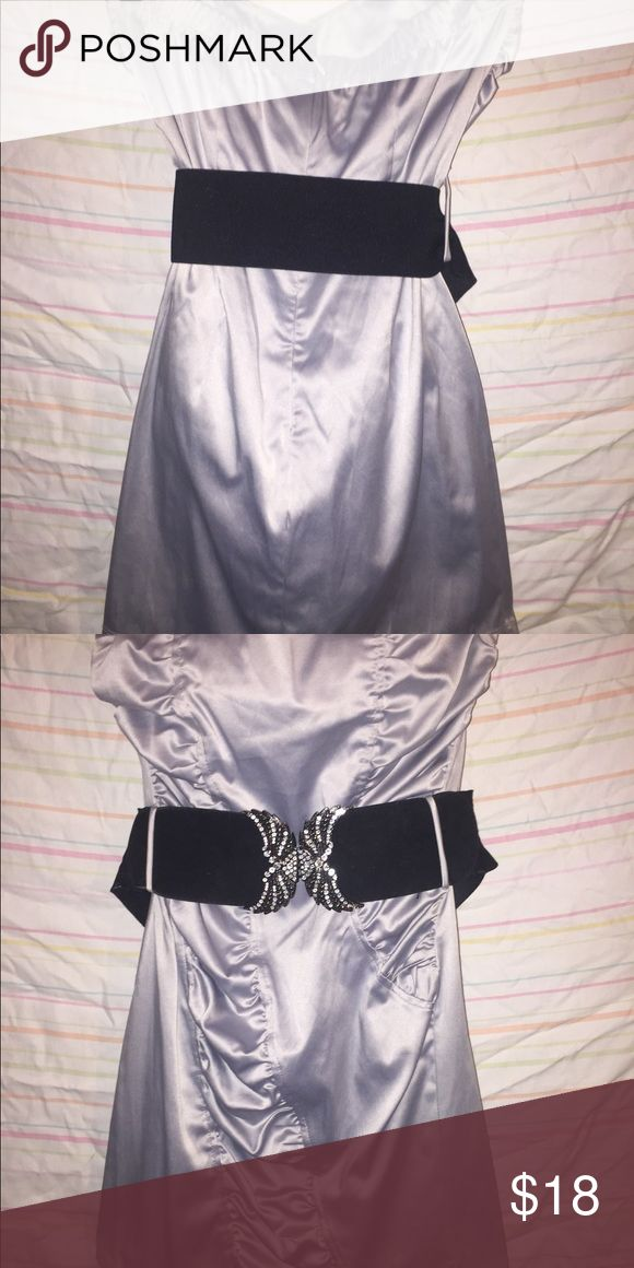 Silk silver mini dress with belt Great for a night out! Super cute and comfortable! Only wore it once! Dresses Mini