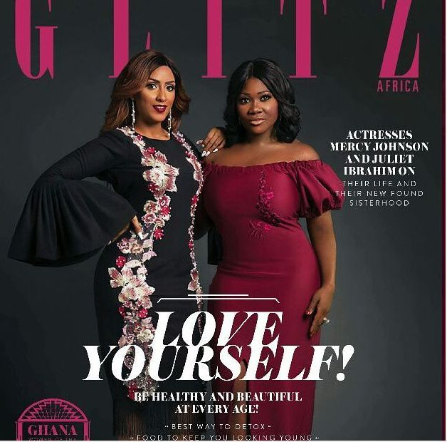 Mercy Johnson and Juliet Ibrahim are glamorous on the cover of Glitz Magazine.  Mercy shared the photos on Instagram and wrote;  Its OutGlitz .Get a copy and Enjoy our play play.#signingouttillsep#@julietibrahim  Juliet Ibrahimis a Ghanaian actress film producer singer and humanitarian of Lebanese Liberian and Ghanaian descent. The duo are both GLO ambassadors.