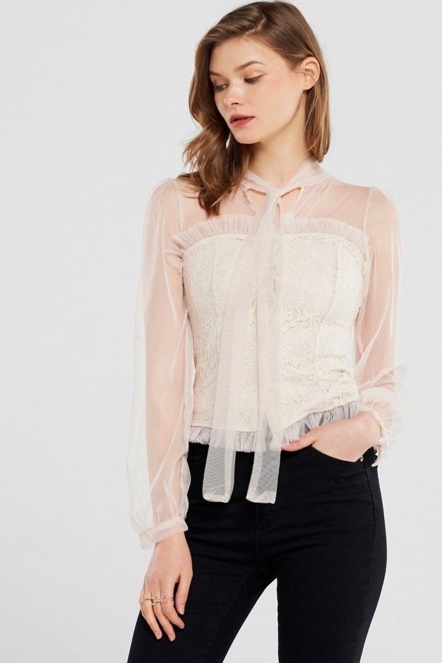 Trista Mesh Corset Blouse Discover the latest fashion trends online at storets.com #fashion #ootd #mesh #corsetblouse #blouses #storetsonme