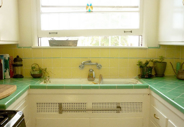 Small Kitchen Layouts >> yellow and green tile | sunny kitchen | Green kitchen, Yellow cupboards, Yellow tile