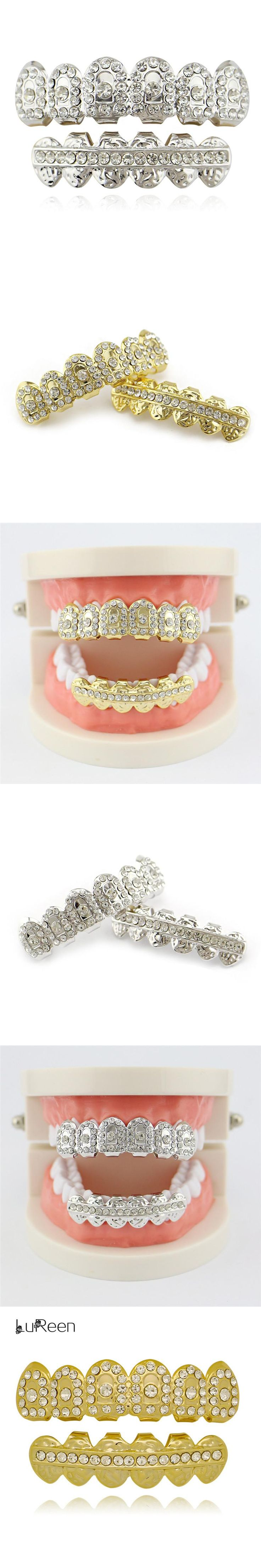 LuReen Hiphop Gold Grills Teeth Top & Bottom iced Out Cosplay Dental Grills Tooth Vampire Teeth Caps Party Jewelry Gift LD0039
