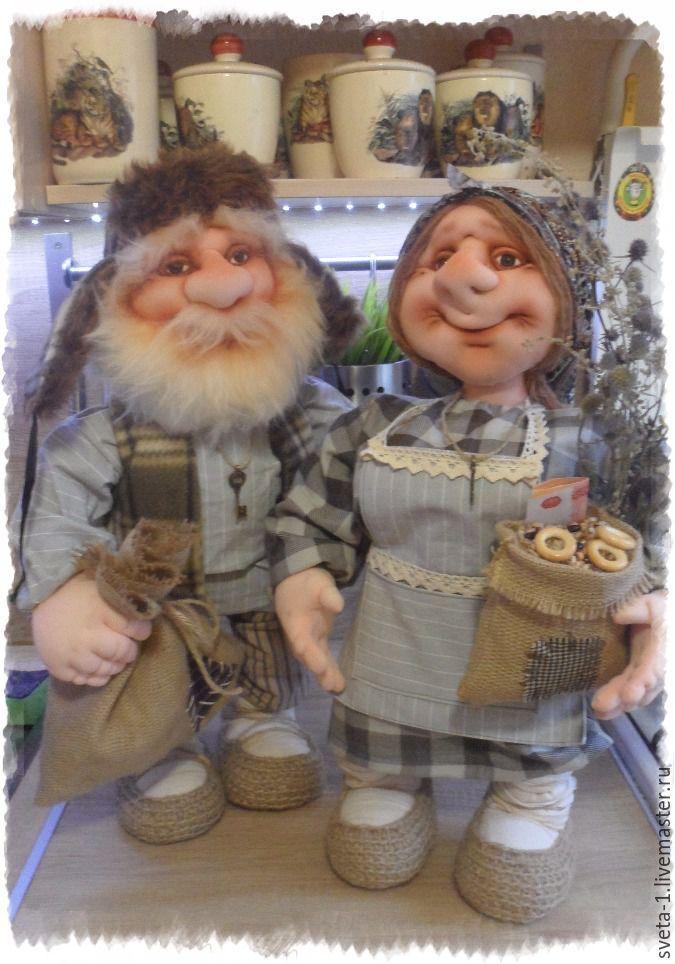 Купить домовой с домовушкой - серый, домовой, домовушка, пара, интерьерная кукла, оберег