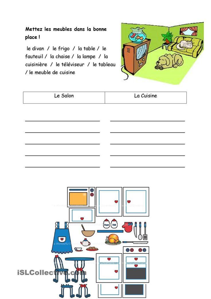 Meubles : FLE-Maison : Pinterest : French worksheets, Core ...
