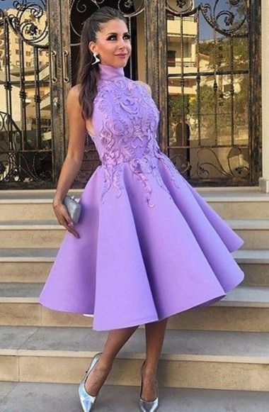 High Neck Tea-Length Purple Satin Homecoming Dress With Appliques TR0124