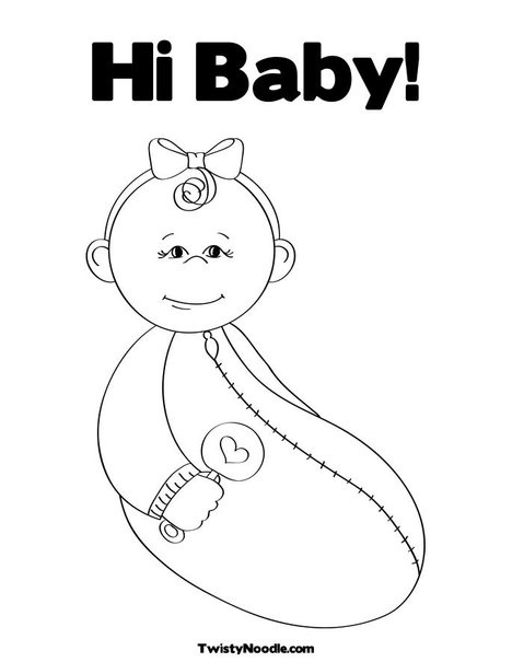 printable baby rattle coloring pages | Baby Girl with Rattle Coloring Page | Baby coloring pages ...