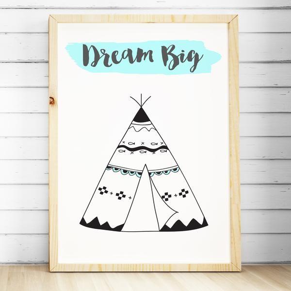 Tribal Nursery Bedroom Wall Art Print   Baby Kids Boys Girls  Teepee. Baby,