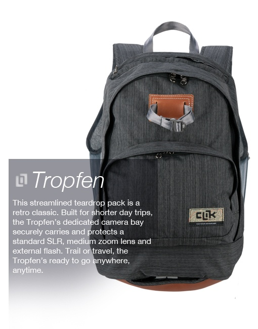 Clik Elite Tropfen Camera Backpack    Classic style. Functional photography backpack. Be sure to check out the rear entry camera portal!