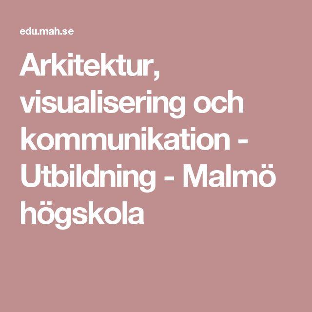 Arkitektur, visualisering och kommunikation - Utbildning - Malmö högskola