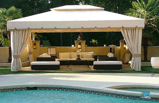See this pool deck magically transformed. Sandy Springs Cabana Georgia Tent & Awning's Signature Freestanding Canopy
