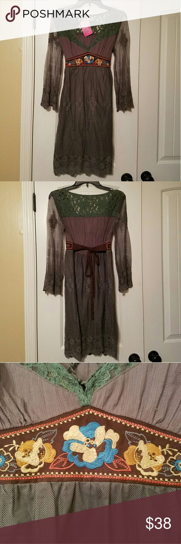 """Dress Beautiful gray/brown dress.  Has that cool cowgirl chic vibe to it.  This is a dress from """"punkies place"""" which is a sales venue that twice a year shows their clothes at the famous Roundtop Flea Market, in Texas (I got a hold of it in Texas) (attended by and shown on Chip & Joanna Gaines show Fixer Upper).  I believe, based on the tag, that this piece was obtained at a Flyimg Tomato Boutique. Flying Tomato Dresses"""