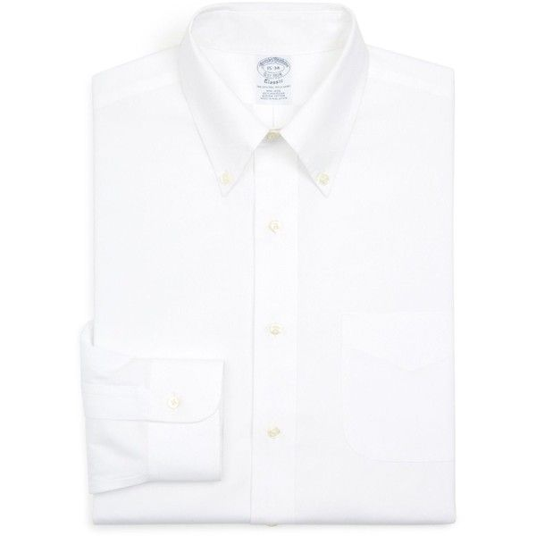 Brooks Brothers Basic Solid Non-Iron Regular Fit Dress Shirt ($74) ❤ liked on Polyvore featuring men's fashion, men's clothing, men's shirts, men's dress shirts, white, brooks brothers mens shirts, brooks brothers men's dress shirts, mens white dress shirts, mens dress shirts and men's non iron shirts
