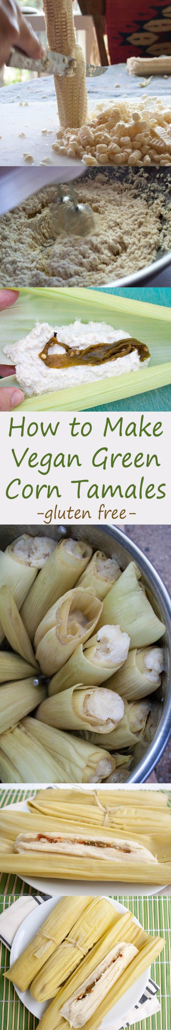 Vegan Green Corn Tamales (Tamales de Elote) - If you love Mexican food, then this recipe is for you! These rich, spicy tamales have Hatch green chiles...