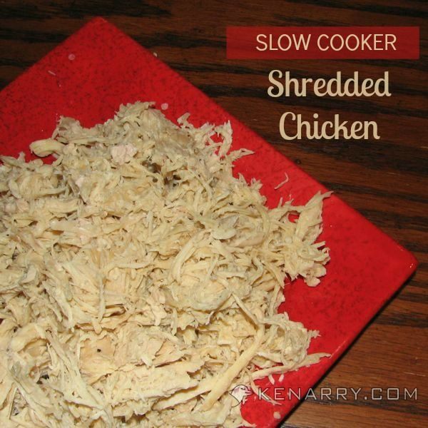 Slow cooker shredded chicken is an easy way to cook chicken for use in soups, casseroles, sandwiches, salads or other recipes.