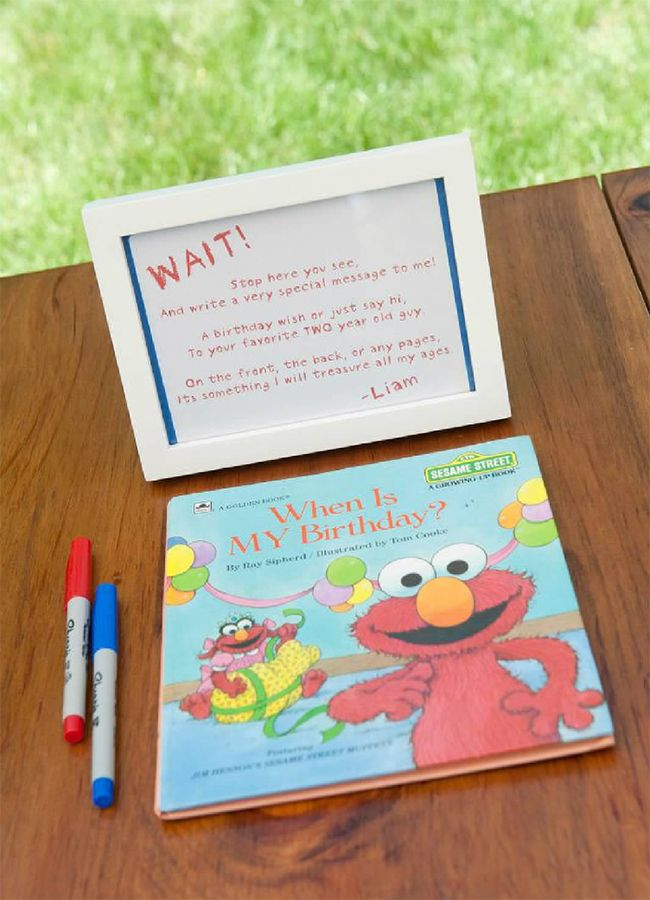 Sesame Street birthday party - have guests sign a keepsake book