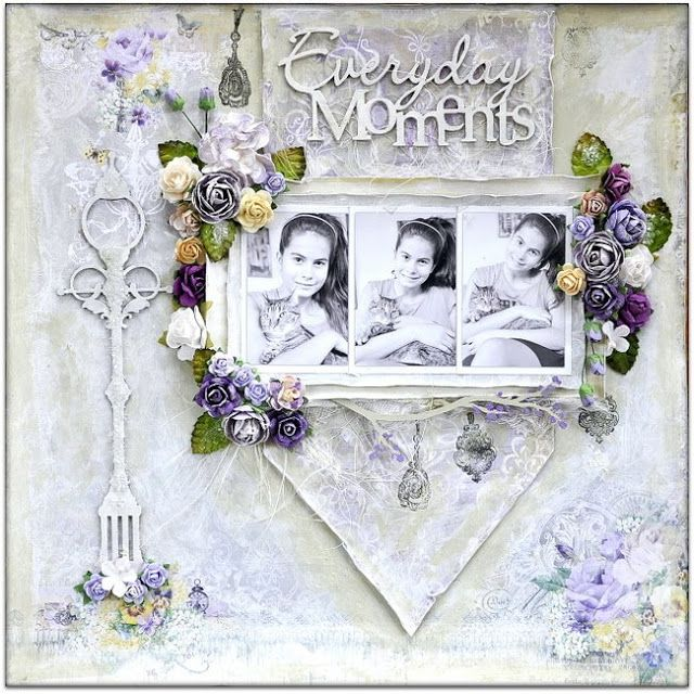"""Everyday Moments"" Layout  by Blue Fern Studios Design Team Member Bente, using the beautiful 'Deja Vu' collection  ~ Wendy Schultz ~ Scrapbook Pages 3."