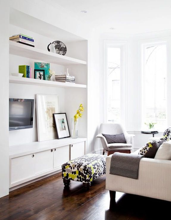 Palmerston Design - living rooms - nook, white, built-in, media, cabinet, TV, art, glossy, white, floating shelves, green, blue, ottoman, wh...