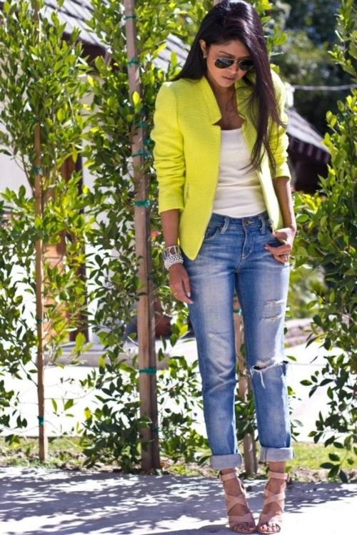 love the ripped jeans and the neon blazer