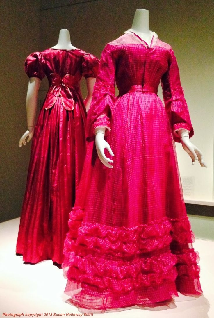 Left: Day dress, United States, c. 1830, silk satin patterned with weft floats, dyed with madder or cochineal.  Right: Day dress of piña cloth, United States (fabric from Philippines), 1868-70, pineapple leaf fiber (piña) plain weave dyed with fuchsine; silk pain weave underdress trimmed with silk net. Both from the Museum of Fine Arts, Boston. Photographs by Susan Holloway Scott.