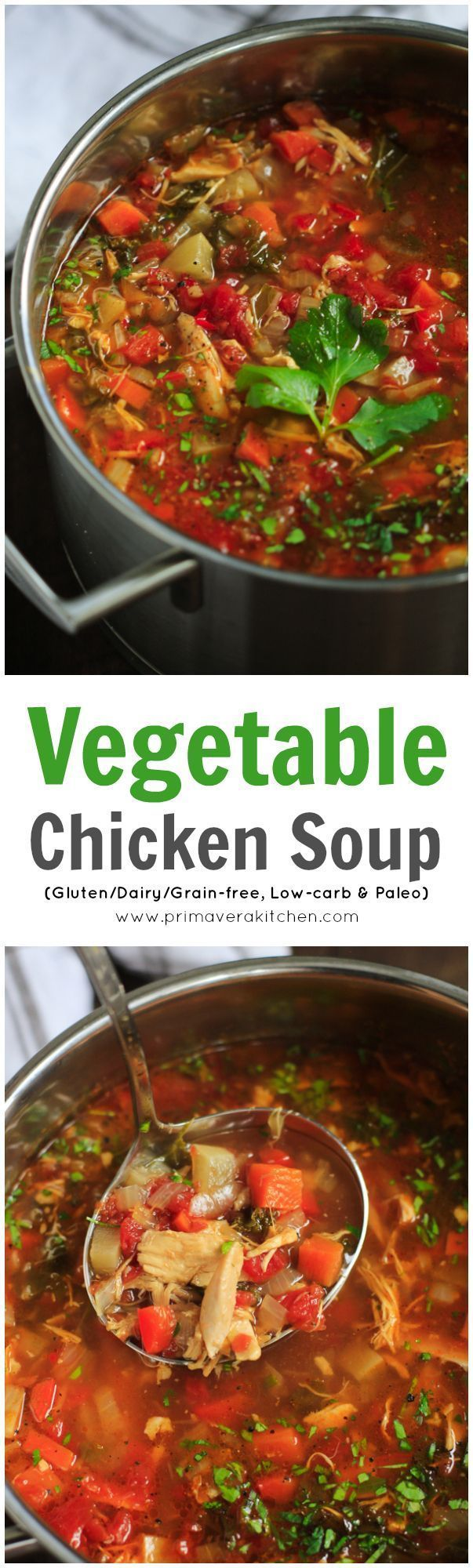 This ultra-flavourful Chicken Vegetable Soup is all you need to stay warm and healthy. It's also gluten/grain/dairy-free, paleo and low-carb!