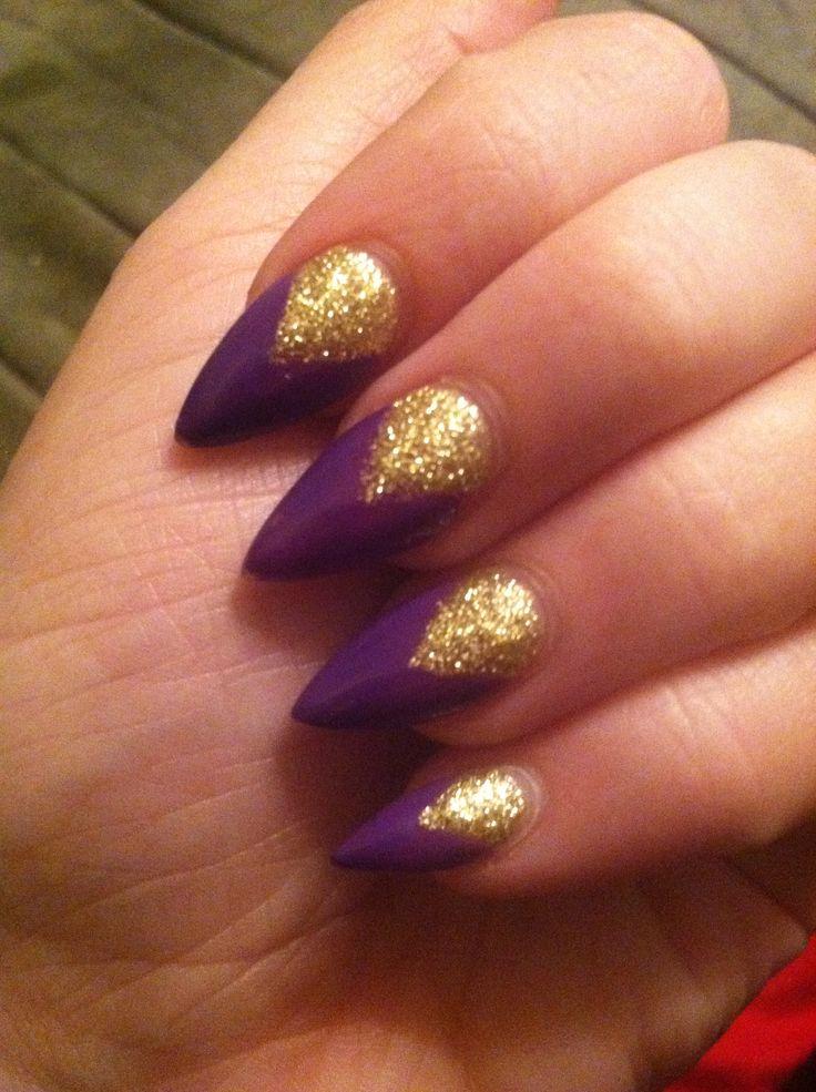 Purple & gold stiletto nails