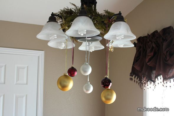 9 best autumn chandelier images on pinterest chandelier for Hanging ornaments from chandelier