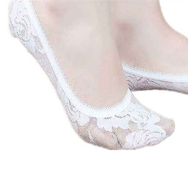 Women Mesh Breathable Sexy Lace Boat Socks Antiskid Invisible Short Ankle Socks