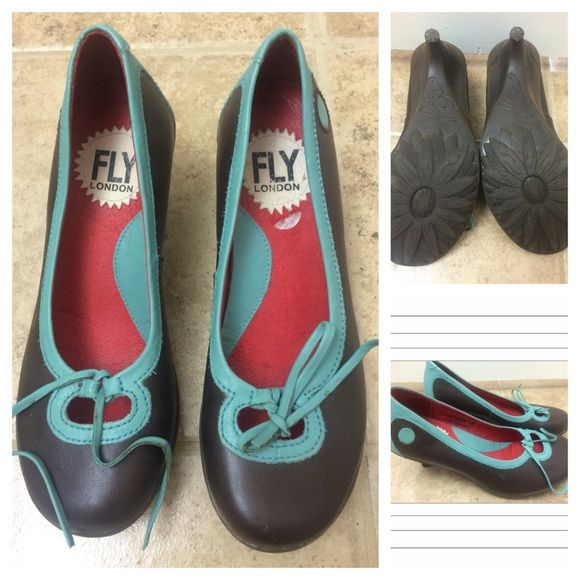 Fly London brown and turquoise pumps worn 1 time Adorable and so comfy just like all Fly London.. Worn 1 time Fly London Shoes