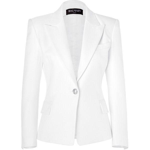 BALMAIN White Textured Cotton-Silk Blazer ($2,140) ❤ liked on Polyvore
