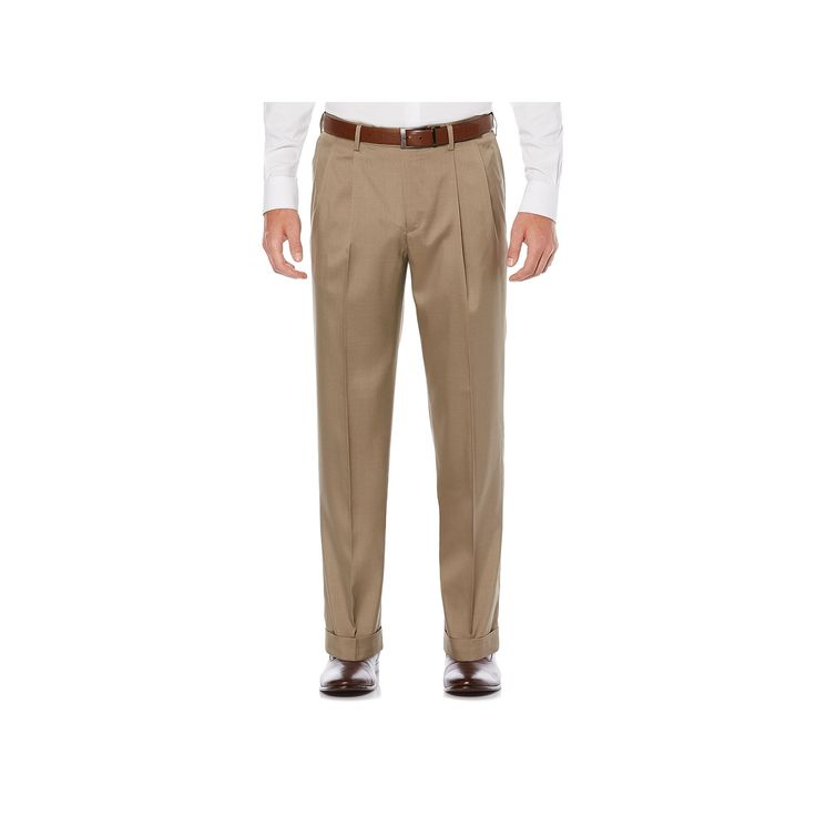 Men's Savane Straight-Fit Stretch Crosshatch Pleated Dress Pants, Size: 36X29, Med Beige