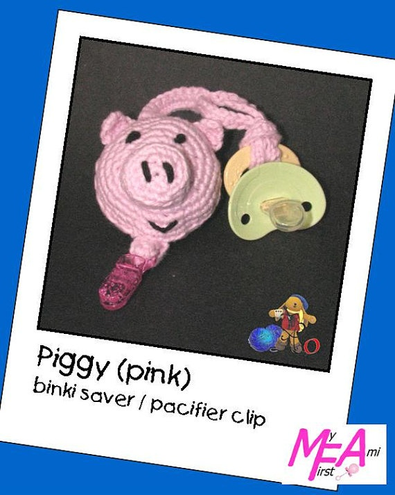 Piggy Pacifier Clip / Binky Saver crochet by AmiObssnbyShannon