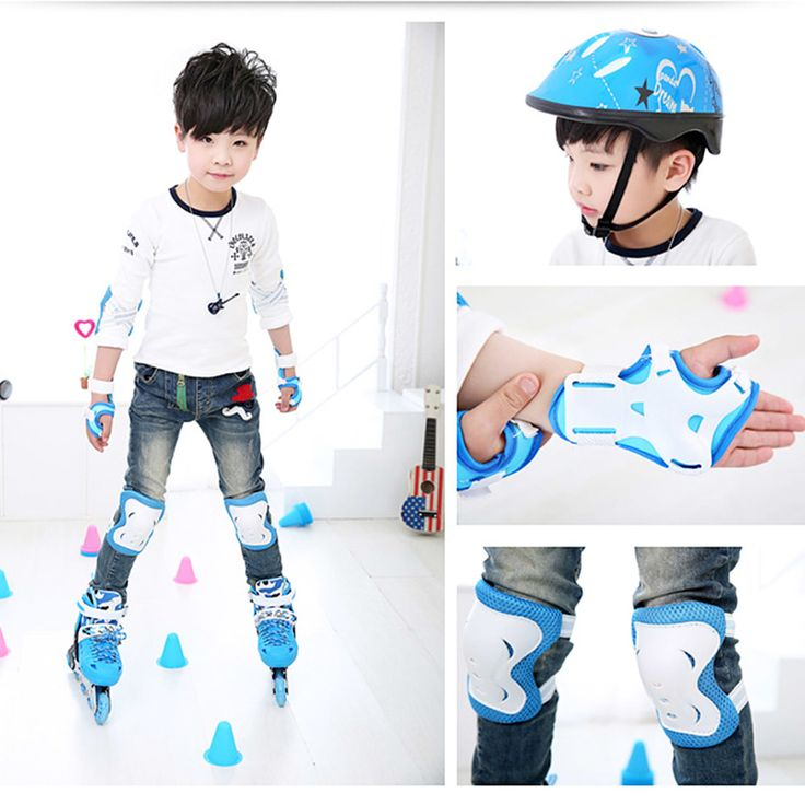 6 Pcs Kid Roller Skating Skateboard Elbow Knee Pads Wrist Protective Adjustable Guard Gear Pad Children Cycling Bicycle Sports